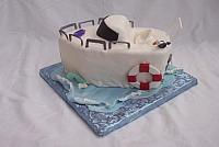 Cute motorboat or motor boat cake - gumpaste edible decorations