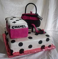 Hot Pink and Black Polka dot Shoebox, Purse, Shoe Cake side angle view