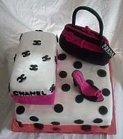 Hot Pink and Black Polka dot Shoebox, Purse, Shoe Cake top view
