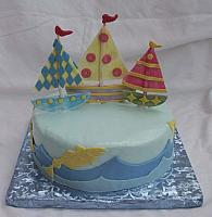Cute sailboat cake - for children or young adults or whimsical theme