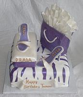 Shoe, Shoebox, Shopping Bag, Zebra striped Purple and White Birthday Cake