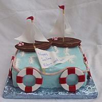 sailboat or sailing theme cake - edible decorations