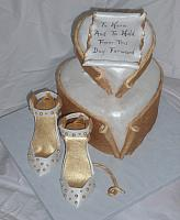 Romantic Heart and Edible Gold White Shoes