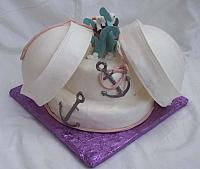 sailor hat cake - sailor hats are edible gumpaste decorations as are the anchors and all other decorations are handmade