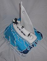 Nautical Yacht Boat on Sea Waves Cake with Edible Dog top view