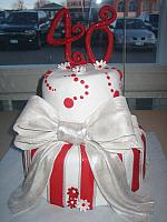 40th Anniversary Whimsical Silver Red Stripes Bow Cake picture from customer