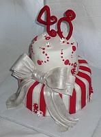 40th Anniversary Whimsical Silver Red Stripes Bow Cake view 2