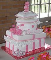 Quinceanera Cake in Pink and White with Stacked Presents, Edible Fashion Shoe, Pillow, and Princess Crown
