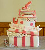 Stacked Presents with Pillow, Fashion Shoe, Silver Tiara Princess Cake