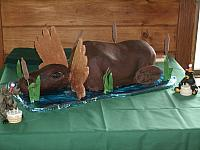 Carved Moose Cake Sitting In Pond view 1