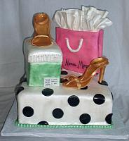 Fashionista or Fashion Cake with Shopping Bag, Gold Shoes, Shoebox