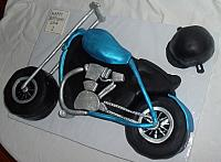 Blue, Silver, Black Motorcycle Cake view 1