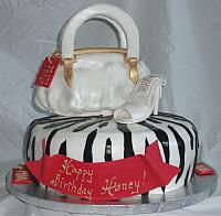 Purse, Shoe, Zebra Striped Fashionista Birthday Cake