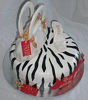 Red and White Purse, Shoe, Black Zebra Striped Cake top view