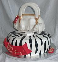 Red and White Purse, Shoe, Black Zebra Striped Cake view 1