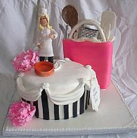 Chef, Kitchen, or Cooking Theme Cake with Kitchen Tools in Shopping Bag, Chef Figurine, Paris Style Hatbox, Gumpaste Peony