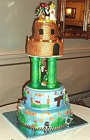 Mario Video Game Theme Tiered Cake - TO VIEW MORE PHOTOS, GO TO THE WEDDING CAKES SECTION.