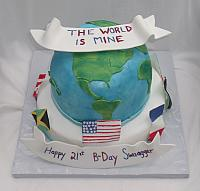 Globe with International Flags Cake