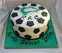 Soccer Themed Fondant-covered Cake