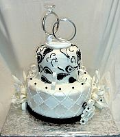 Black and White Anniversary Cake for 60th Wedding with Paisley design, Edible Streamers, Bows, Flowers