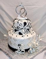 Anniversary Paisley Streamers Black White Fondant Cake Side