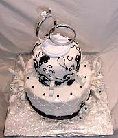 Anniversary Paisley Streamers Black White Fondant Cake top view