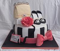 Purse Shoe Chanel Rose Bow Black White Fashion Cake