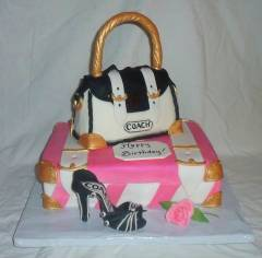 Fashionista Suitcase Coach Purse Shoe Fondant Birthday Cake