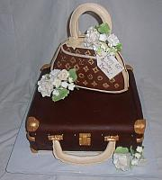 Louis Vuitton Edible Purse On Luggage Fondant Cake with Edible Flowers