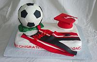 Graduation Cake with Soccer Ball, Wrestling Singlet, Graduation Cap