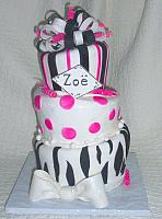 Whimsical Topsy Turvy Zebra Striped with Hot Pink Fondant Cake