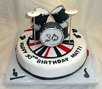Edible Drum Set on Music Themed Fondant Birthday Cake