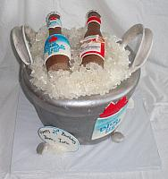 Beer Ice Bucket Fondant Cake with Rock Candy Ice, Edible Beer Bottles, Edible Bar Towel