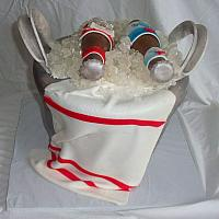 Beer Ice Bucket Fondant Cake back view with Fondant Bar Towel