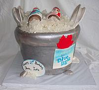 Beer Ice Bucket Fondant Cake front view