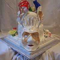 Mardi Gras cake with Gumpaste masks white mask