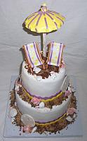 Beach Theme Fondant Cake with Edible Chairs, Umbrella, Sea Shells top view