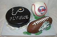 Sports Theme Cake with Philadelphia Teams for Groom