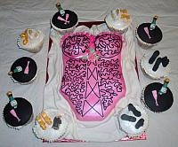 Corset or Lingerie Bridal Shower Cake with Cupcakes