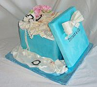 Tiffany Present Box Fondant Cake with Edible Jewelry, Peony Flower Bouquet, and Tissue