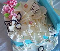 Tiffany Present Box Cake Contents of Edible Gumpaste Jewelry, Peony Bouquet, and Tissue