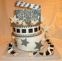 Movie Memorabilia Theme with One Movie Reel Fondant Cake