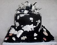 Black and White Applique Present Fondant Cake With Edible Bow and Edible Jewerly