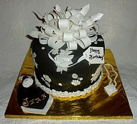 Black and White Present Fondant Cake with Edible Handkerchief and Necklace main view