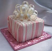 Pink Present Cake with Fondant Stripes and Large Gumpaste Bow