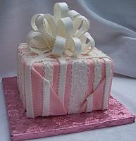 Pink Present Cake with Tucked In Sides