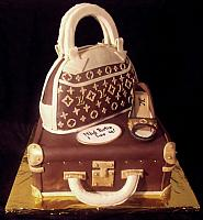 Fashionista Fondant Cake with Edible Louis Vuitton Luggage, Purse, and Shoe
