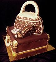 Fashionista Fondant Cake with Edible Louis Vuitton Luggage, Purse, and Shoe side view