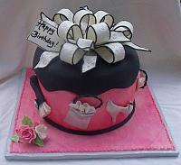 Sweet Sixteen Fashion and Shopping Themed Fondant Present Cake main view