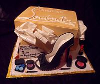 Christian Louboutin Shoebox, Shoe Fondant Fashionsta Cake with Edible Makeup